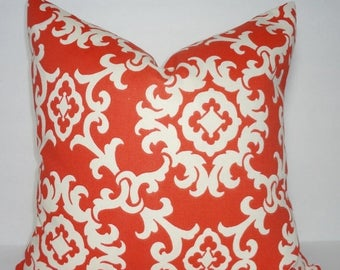 FALL is COMING SALE Outdoor Coral & Ivory Suzani Pillow Cover Cushion Cover Porch Decorative Pillow 18x18
