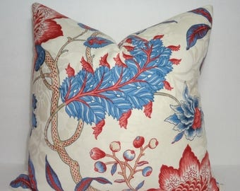FALL is COMING SALE Blue Red Floral Print Pillow Covers Decorative Throw Pillow Covers Large Floral Print Pillow Covers 18x18