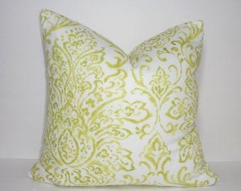 Lime Green and White Damask Floral Pillow Cover Home Decor by HomeLiving Size 18x18