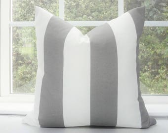 OUTDOOR Grey & White Large Stripe Pillow Cover Deck Patio Pillow Cover Gray Stripe Choose Size