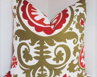 Christmas Holiday Pillow Green Maroon Rust Suzani Pillow Cover Decorative Pillow Cover 18x18