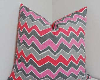 SPRING FORWARD SALE Fushia Pink & Grey Zig Zag Chevron Print Pillow Covers Throw Pillows 18x18
