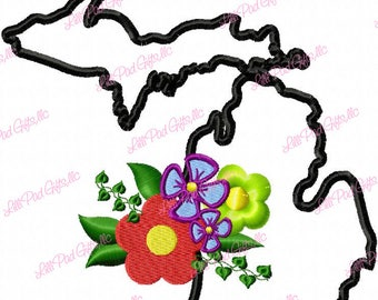 Michigan-Flowers - Applique - Machine Embroidery Design - 5 Sizes