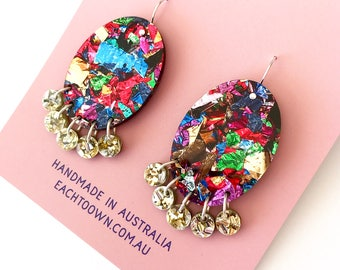 Lush Fireworks Glitter Oval Drops - Laser Cut Drops Earrings - Each To Own Original