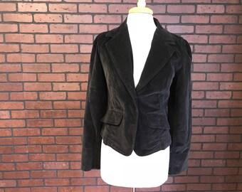 Vintage 90s black velour blazer