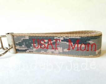 USAF Mom custom key fob in red