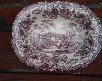 Royal Staffordshire China Plum Tonquin Clarice Cliff Oval Serving Bowl