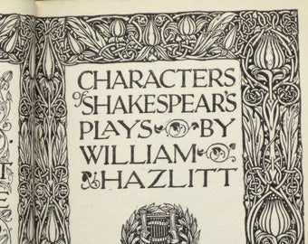 Antique Shakespeare book: Characters from Shakespear by William Hazlitt vintage 1910 book