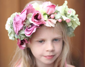 full floral crown,tie back,adult floral crown,orchid and green wreath