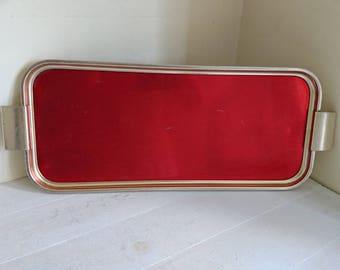 Vintage WoodMet Drinks Tray in Gold and Red - Mid Century Modern - Snack Tray