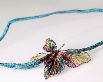 Butterfly necklace Wire sculpture Magenta Blue turquoise Statement necklace Summer jewelry Large necklace Graduation gift women Sofisticated