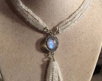 Moonstone Necklace - Rainbow Moonstone Gemstone Jewelry - Sterling Silver jewellery - Iridescent - Pave Diamond Pendant