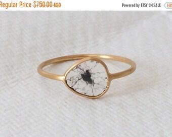 Summer Sale Diamond slice island ring in solid 18k gold