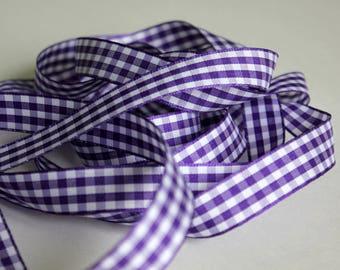 "3/8"" Gingham Ribbon - Purple and White - 4 yards"