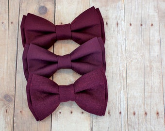 Burgundy Bow Tie for all ages -  pretied bowtie - Wedding bow tie- groom's bow tie- Groomsmen bowtie- ring bearer - summer bow tie