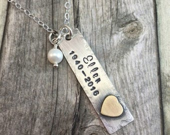 Personalized memorial necklace with soldered heart