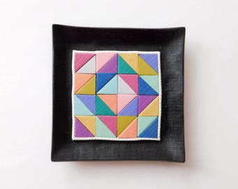 Polymer Clay Ring Dish, Jewelry Holder, Trinket Dish, colorful quilt block pattern