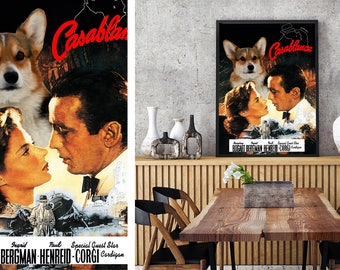 Welsh Corgi Vintage Poster Canvas Print  - Casablanca NEW Collection by Nobility Dogs