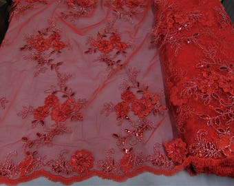 "Red Floral Ribbon Embroidery Metallic and Sequin Lace Fabric on Mesh Perfect for Dresses, Prom, Accessories, Table Design, 50"" Wide"