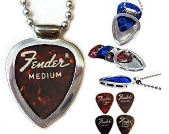 Vintage FENDER 1975 Guitar Pick + Pickbay Guitar Pick holder necklace set in stainless steel