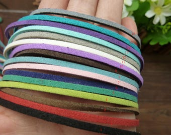 10pcs  1x2mm   Square Artificial leather Ribbon cords hide rope string for jewelry H153