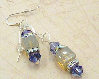 Smoke Crystal Earrings, Swarovski Crystal Earrings, Smoke and Lilac Crystal Earrings, Lilac Bridal Earrings
