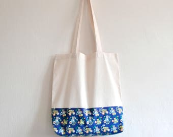 Shopper eco friendly tote market bag accent scandinavian inspired cat animal flower print cotton zero waste produce shoulder bag.