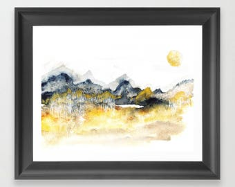 Winter Birch. Watercolor. Print. Abstract Landscape