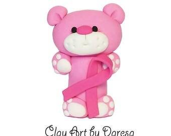 Breast Cancer Aware Bear - polymer clay figurine