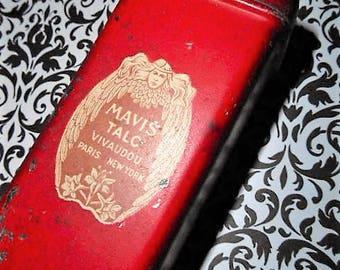 1920s Mavis Talc Powder Tin Cosmetic Beauty Angel Winged Victory