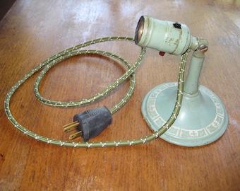 Vintage Green Metal Corded Wall Lamp