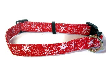 Red and White Snowflake Dog Collar size Large