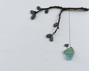 Pebble Art sea glass birdhouse 8 by 10 PebbleArt by Sharon Nowlan choice of framed or unframed