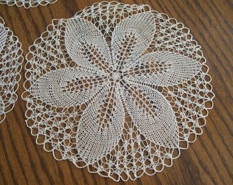 """Vintage Hand Crocheted Round Doilies 3 Available Flower Petal Center 10"""" Diameter Hand Made Stitched Shabby Chic Table Top Center Doily"""