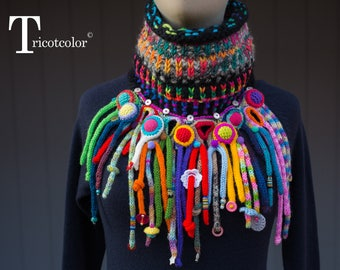 Col collier tricotcolor femme knit accessories tricot arc en ciel tricotin laine breloques boutons perles crochet fleurs crochetées jacquard