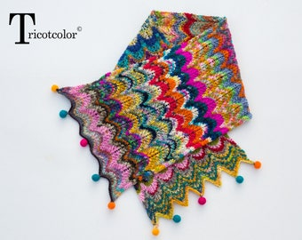 Tricotcolor scarf knit accessories scarf shawl women scarf multicolor knitted crochet knit wool felt gift women fashion accessory