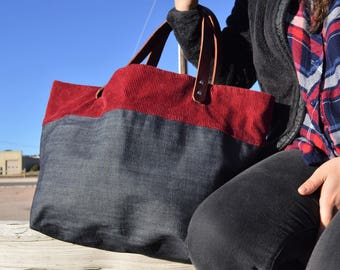 Denim and Leather Tote- Ready to Ship