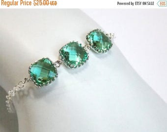SALE Green Bracelet, Aqua Green, Mint, Erinite, Glass Bracelet, Sterling Silver, Wedding Jewelry, Bridal, Bridesmaids Bracelet, Bridesmaid G