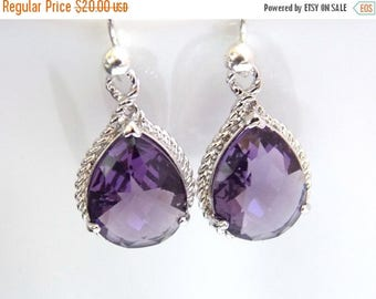SALE Purple Earrings, Glass Earrings, Silver, Drop, Dangle, Amethyst, Bridesmaid Jewelry, Wedding Jewelry, Bridesmaid Earrings, Bridesmaid G