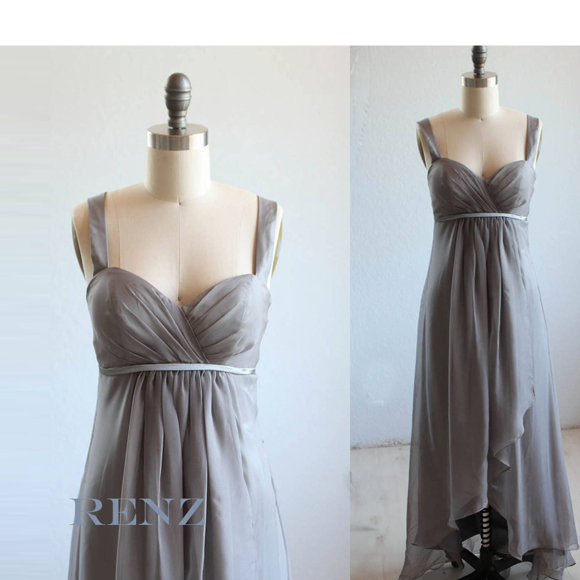 Bridesmaid dress charcoal gray chiffon wedding dresshigh low zoom ombrellifo Images