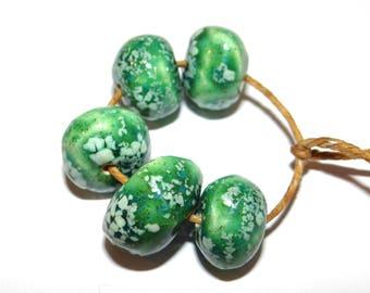 Ceramic Nugget Bead Set Stoneware Handmade Pottery Beads Rustic Organic Green