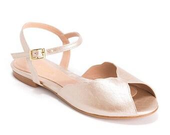 Champagne Wedding Bridal Sandals Womens Open Toe Flats Vegan Leather Vintage
