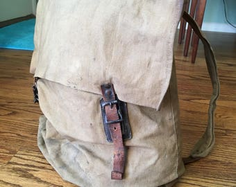 1920's Canvas and Leather Backpack Workwear Scout Military bushcraft hunting hiking camping