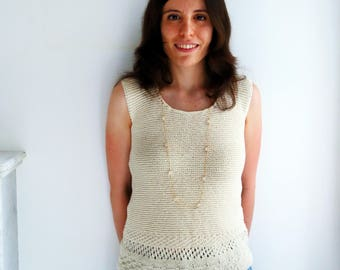 Off white cotton top - Handknit top with lace detail - Size S