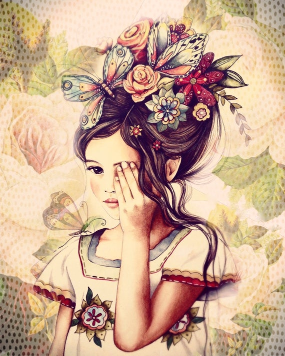 flowers in her hair, vintage .