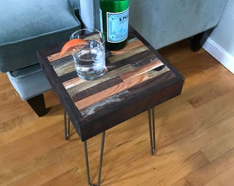 Side Table of Reclaimed Woods with Hairpin Legs