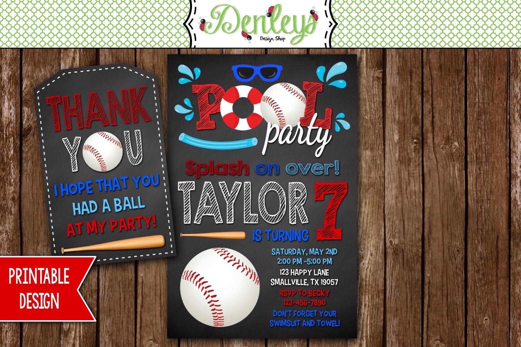 Baseball Pool Party Birthday Invitation Baseball Swimming