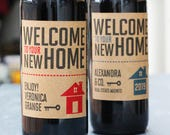 Real Esate Agent Closing Gift,Client Gift, New Home Gift , Real Estate Wine Label/ Tag with or Without Year, Set of 18