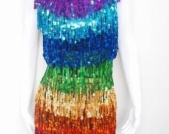 Da NeeNa Rainbow Sequin Fringe Dress XS-XL