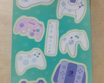 Kawaii Controller Sticker Sheet